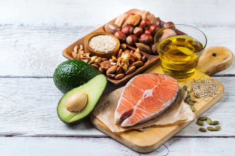 Essential Fatty Acids like avocado, salmon, almonds, and olive oil