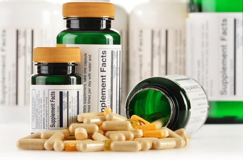 Bottles of supplements for prostate health