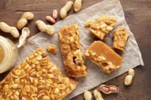 Peanut Brittle Chunks Laid Out on Table