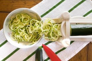 zoodles being made in the spiralizer