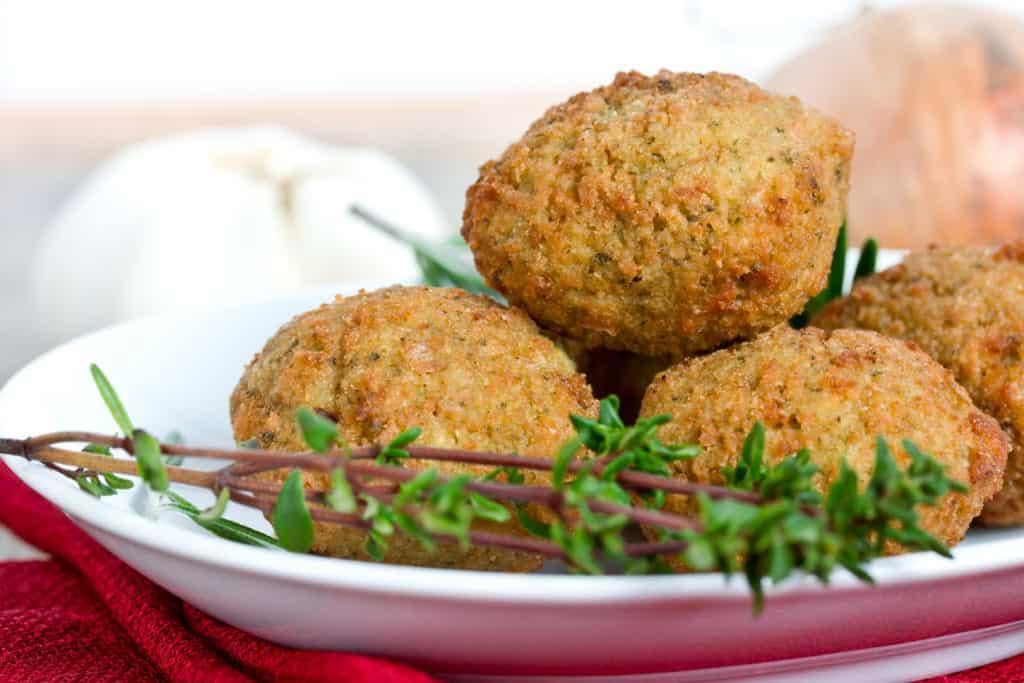 crispy vegan meatballs on plate
