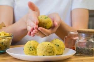 preparing vegan meatballs